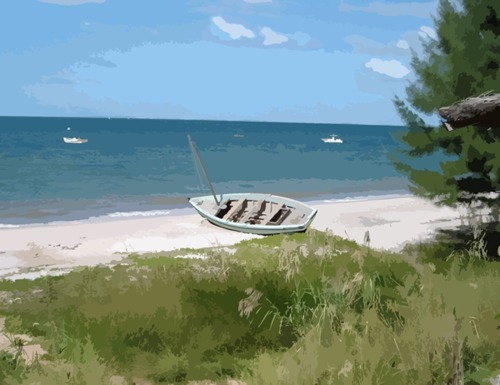Product picture Boat Lying on a Beach in Mozambique